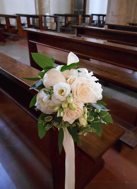 bouquet per panca matrimonio