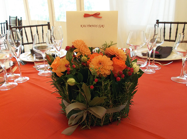 centrotavola rustico arancio