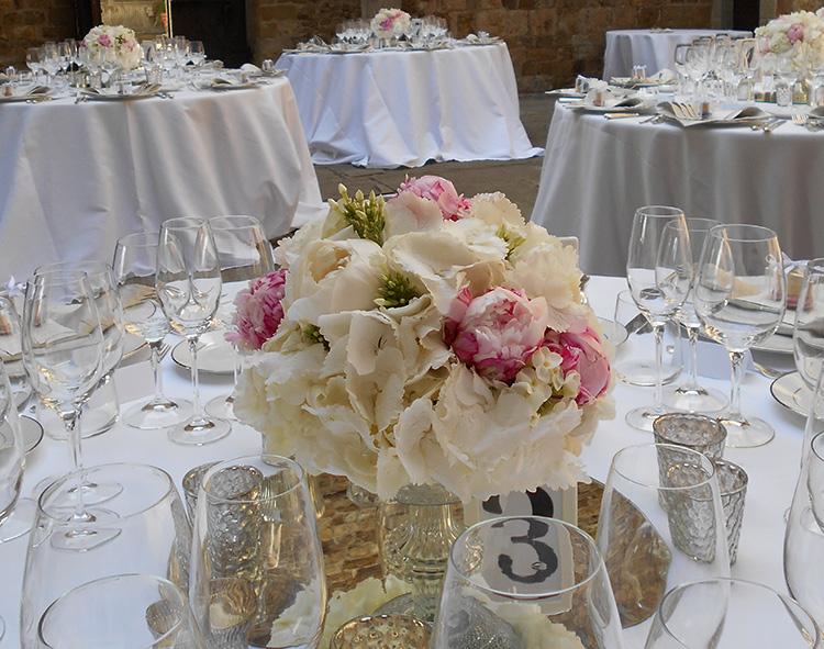 Centrotavola Ortensie Bianche : Centrotavola e allestimenti floreali per il ricevimento