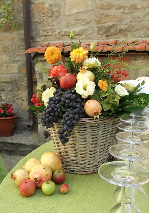 Composizonie buffet frutta e fiori autunno