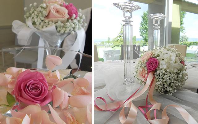 centrotavola rosa matrimonio Arezzo