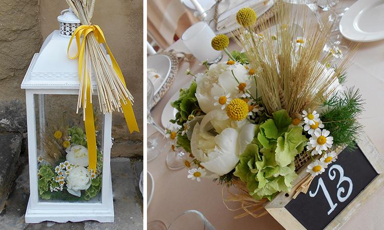 Centrotavola Matrimonio Rustico : Spighe e camomilla per un matrimonio in campagna